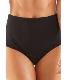 Black high-waisted built-up bikini briefs - BOTTOM RETRO CHARMOSA PRETO LISO