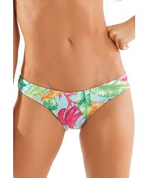 Scrunch bikini bottom with colorful leaves print - BOTTOM TRIANGULO HASTE NEON