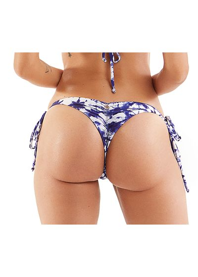 Reversible tie-dye blue scrunch bikini bottom - BOTTOM TRIANGULO XADREZ TIE-DYE