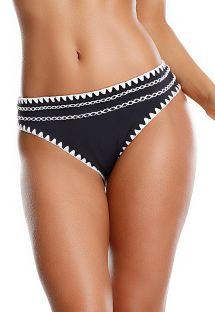Tofarvet bikinitrusse med kantstikning og hæklet detalje - CALCINHA LAGOS