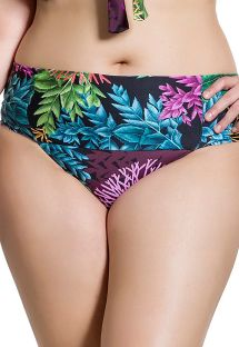 Plus size bikini bottom in coral print - BOTTOM BELLA PLANTAS PLUS