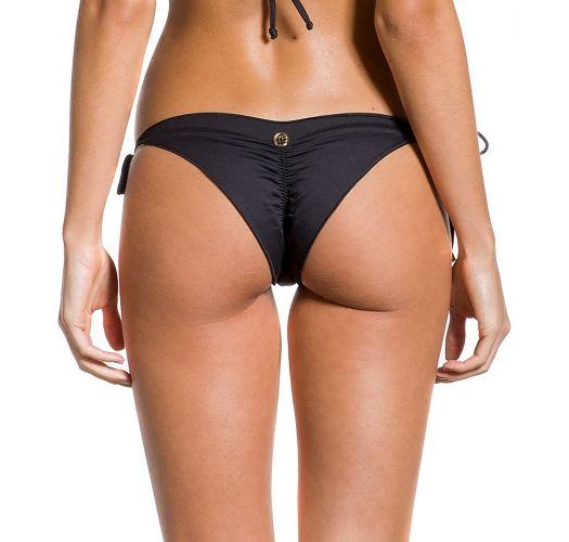 Black side-tie scrunch bikini bottom wavy edges - BOTTOM BOA NOITE ESCURA