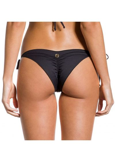 Black side-tie scrunch bikini bottom wavy edges - BOTTOM BOA NOITE ESCURA