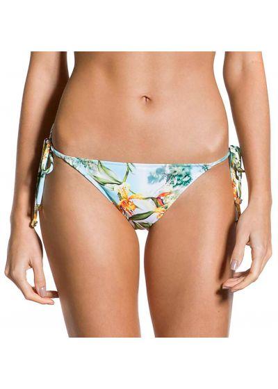 Accessorized floral scrunch Brazilian bikini bottom - BOTTOM CROPPED MANHÃ