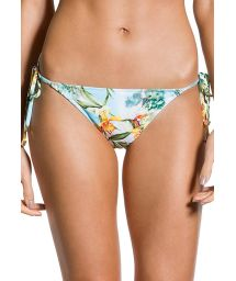 Accessorized floral scrunch Brazilian bikini bottom - BOTTOM CROPPED MANHÃ