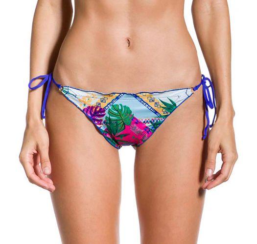 Gemusterte Scrunch-Bikinihose, hinten blau - BOTTOM CROPPED VISÃO