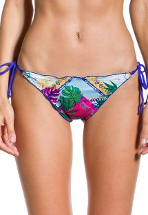 Printed scrunch Brazilian bikini bottom with blue back - BOTTOM CROPPED VISÃO