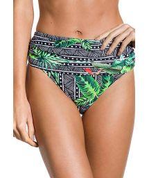Geometric and tropical print high-waist bikini bottom - BOTTOM DUNAS MAR