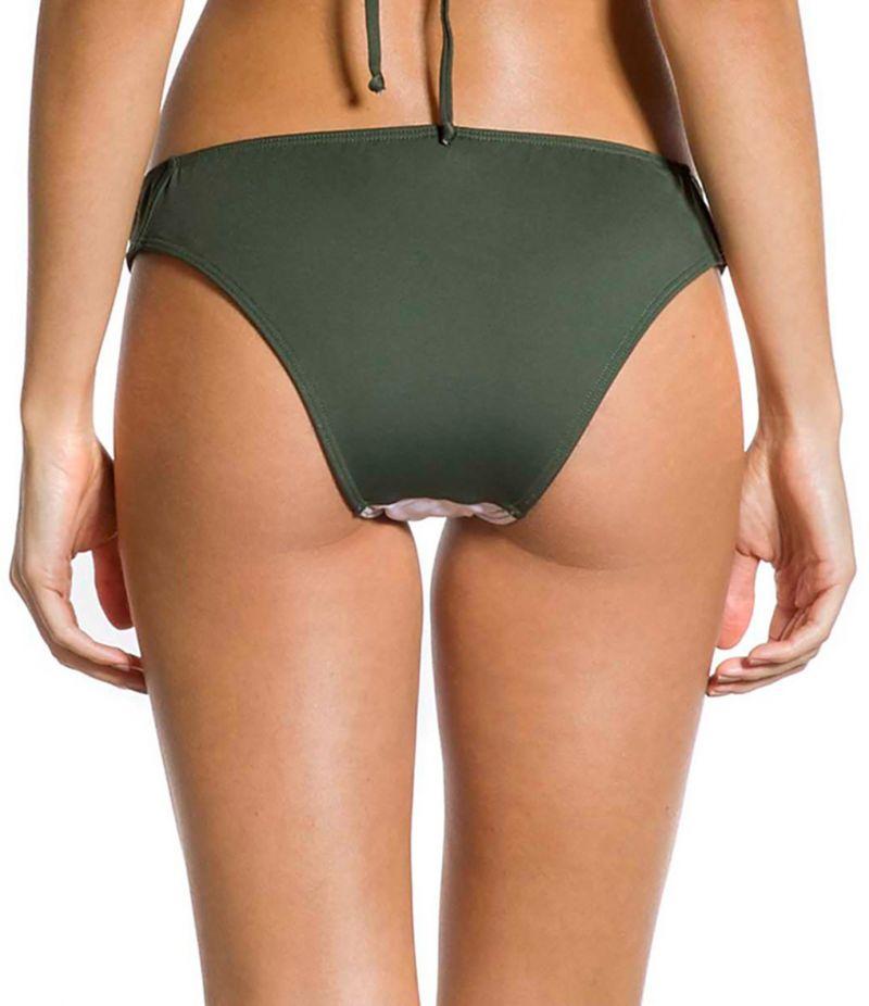 Floral & khaki fixed Brazilian bikini bottom - BOTTOM FIXO FLOR DE KAKI