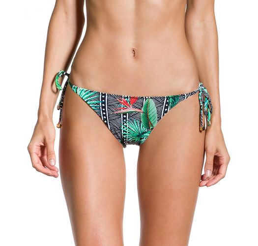 Tropical / geometric print side-tie bikini bottom - BOTTOM LAÇO TROPICAL ELEGANCIA