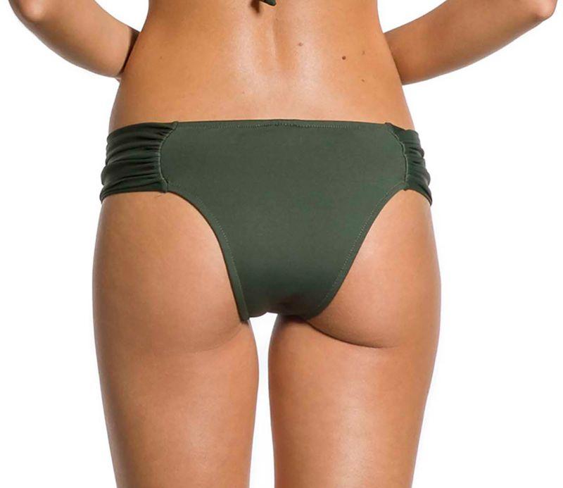 Pleated larger-side Brazilian bikini bottom in khaki - BOTTOM PLEATED KAKI