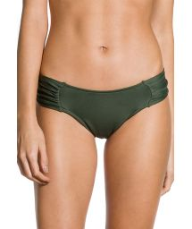 Pleated larger-side Brazilian bikini bottom in khaki - BOTTOM PLEATED KAKI