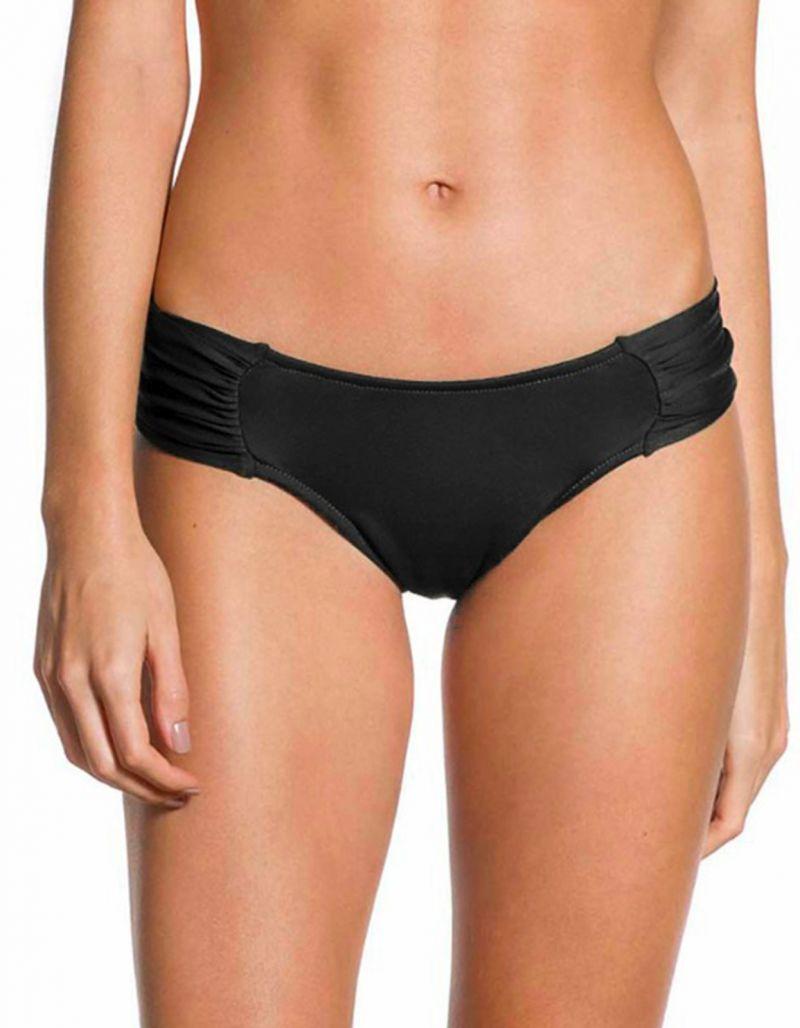 Wide pleated Brazilian black bikini bottom - BOTTOM PLEATED PRETO