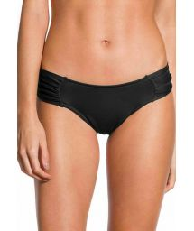 Wide pleated Brazilian black bikini bottom - BOTTOM PLEATED PRETO