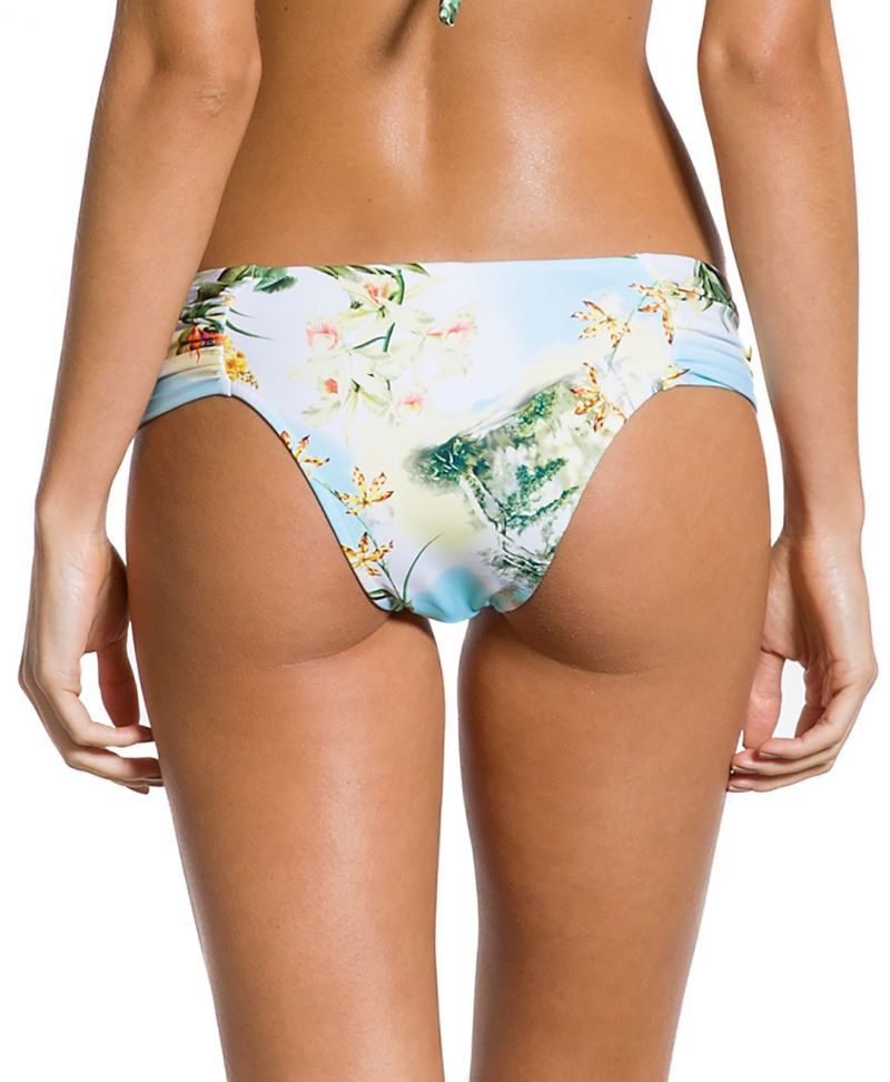 Floral bikini bottom with wide pleated sides - BOTTOM PLISSADA MANHÃ