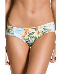 Floral bikini bottom with wide pleated sides - BOTTOM PLISSADA MANHÃ