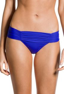 Dark blue fixed Brazilian bikini bottom with pleated sides - BOTTOM PLISSADO COBALT