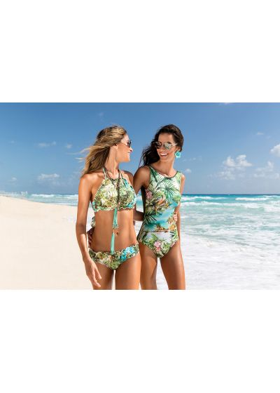 Bandeau bikini med tropiskt tryck - BOTTOM PRAIA DA FORMOSA