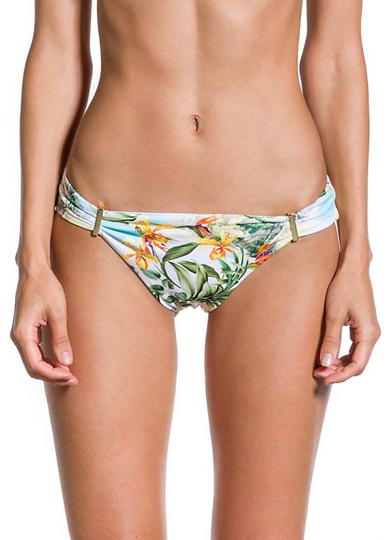 Floral bikini bottom with golden details - BOTTOM PRAIA DAS ACACIAS