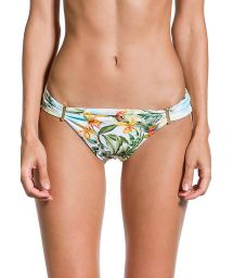 Floral bikini bottom with golden details - BOTTOM PRAIA DAS ACACIAS