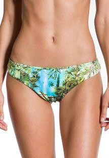 Brazilian fixed bikini bottom in tropical print - BOTTOM PRAIA DAS PALMEIRAS