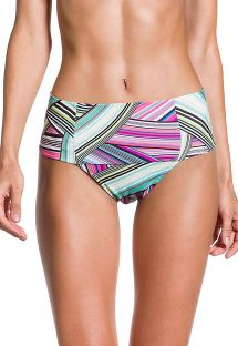 Colorful graphic print high-waist bikini bottom - BOTTOM PRAIA DO SOL