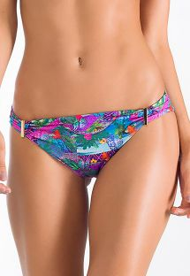 Multicoloured fixed Brazilian bikini bottom with gold details - BOTTOM ROSA MARINHA
