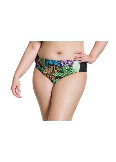 Plus size Brazilian bikini bottom in coral and black print - BOTTOM SIMPLES PLANTAS PLUS