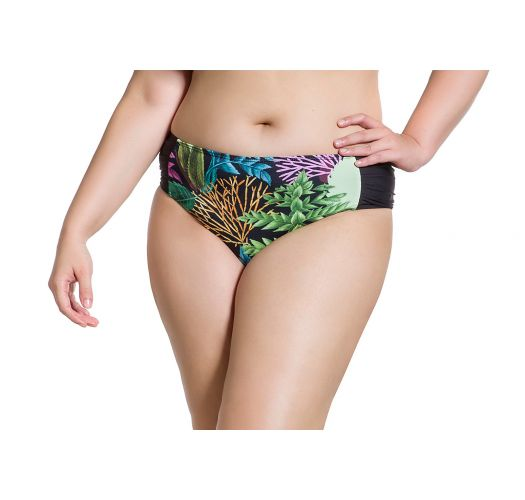 Plus size Brazilian bikini bottom in coral and black print - BOTTOM SIMPLES PLANTAS PLUS