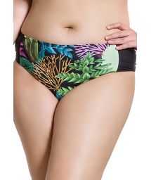 Bikinihose, Korallenmotiv/schwarz, Plus Size - BOTTOM SIMPLES PLANTAS PLUS