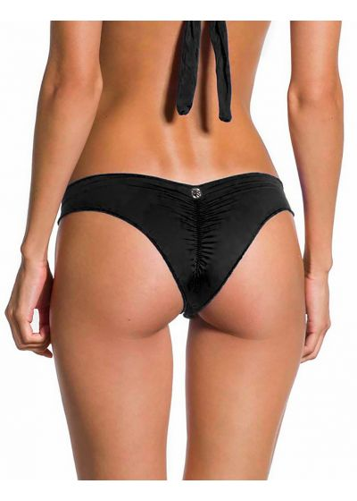 Black fixed Brazilian scrunch bikini bottom - BOTTOM SOL PRETO
