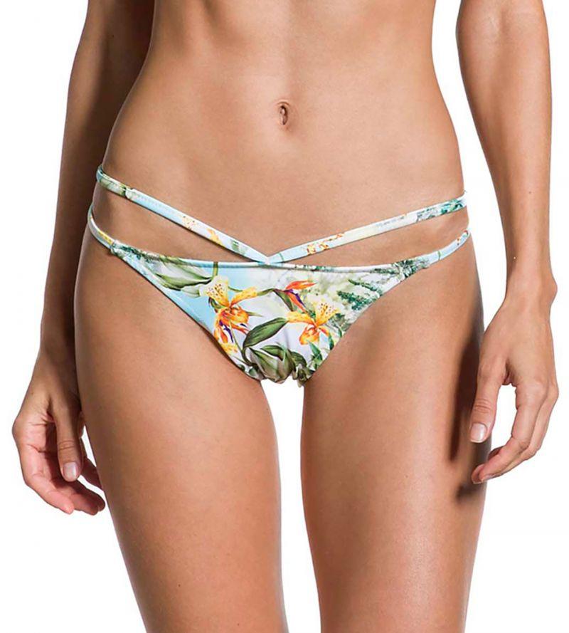 Floral bikini bottom strappy details - BOTTOM STRAPPY MANHÃ