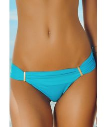 Blue Brazilian bikini bottom with gold details - CALCINHA ACGUA