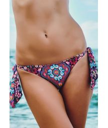 Printed Brazilian bikini bottom with ties - CALCINHA ARATUBA