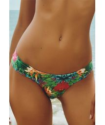Tropical floral print tanga bikini bottom, fixed sides - CALCINHA BELA VISTA