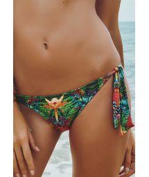 Tie-side tropical print Brazilian bikini bottom - CALCINHA COSTA VERDE