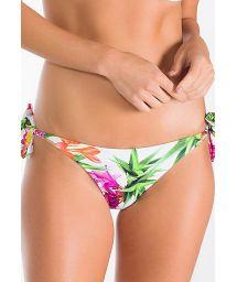 White floral Brazilian bikini bottoms with ties - CALCINHA FLOR DO CARIBE