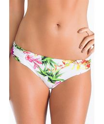 White floral Brazilan bikini bottoms with pleated sides - CALCINHA FLOR DO HIMALAIA