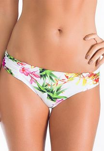 White floral Brazilan bikini bottoms with pleated sides - CALCINHA FLOR DO HIMALAIA