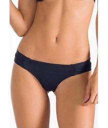 Fixed black swimsuit thong with pleated sides - CALCINHA IBIRAJARA