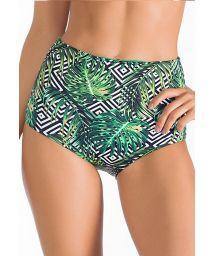 High-waist bottom with geometric/leaf motif - CALCINHA MONTEVERDE