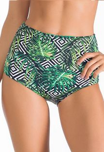 High-waist bottom with geometric/leaf motif - CALCINHA MONTEVERDE
