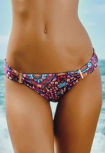 Brasiliansk bikiniunderdel, mønstret med gulldetaljer - CALCINHA MUNIQUE