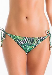 Tropical/geometric Brazilian scrunch bikini bottoms - CALCINHA PERI