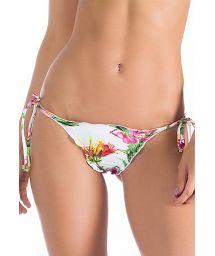 White floral Brazilian scrunch bikini bottoms with ties - CALCINHA PETALAS ROSADAS