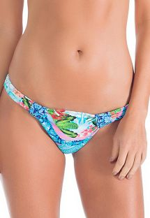 Printed blue fabric Brazilian bottom with rings - CALCINHA RECIFE DE CORAL