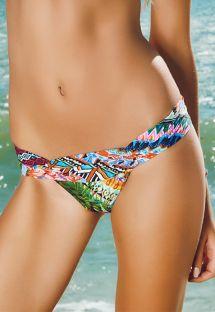 Spraglet fastsiddende tanga bikinitrusse med rynket bæltestykke - CALCINHA RIBEIRINHA