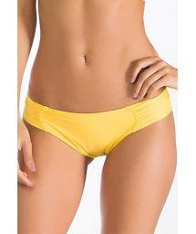 Yellow, fixed Brazilian bottoms, pleated sides - CALCINHA SOL CELESTE