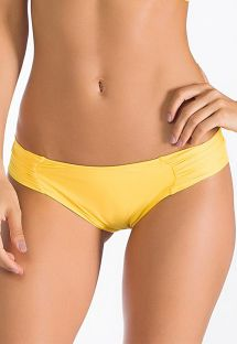 Yellow, fixed Brazilian bottoms, pleated sides - CALCINHA SOL CELESTE