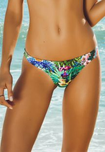 Tropical floral tanga swimsuit bottom - CALCINHA VERAO